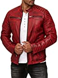 Redbridge Herren Jacke Übergangsjacke Biker Lederjacke Echtleder Kunstleder Baumwolle mit gesteppten Bereichen (M, Rot - Echtleder)