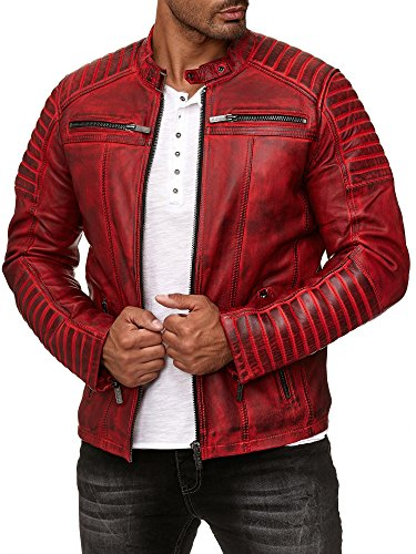 Redbridge Herren Jacke Übergangsjacke Biker Lederjacke Echtleder Kunstleder Baumwolle mit Gesteppten Bereichen (L, Rot - Echtleder)