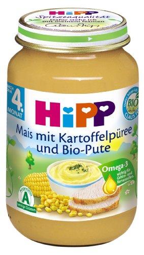 HiPP Mais mit Kartoffelpüree und Bio-Pute Bio, 6er Pack (6 x 190 g) (Bio-putenfleisch)