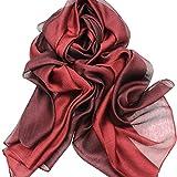 ASIV Elegante Gradiente Colore Sheer Sciarpa Scialle Avvolgere Seta Sciarpe per Donna Rosso