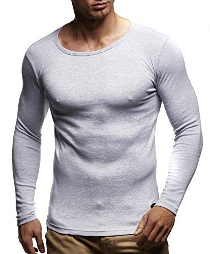 LEIF NELSON, Girocollo da Uomo, a Maniche Lunghe, 100% cotone Grau