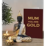 Mothers Day Gifts From Daughter | Mothers Day Gifts From Son | Mothers Day Special Gifts | Gift For Mother |Sitting Buddha Statue With Tea Light Candles And Greeting Card By TiedRibbons