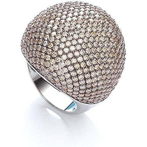 J-JAZ Sterling Silver Micro Pave anello da Cocktail 503grande champagne zirconi