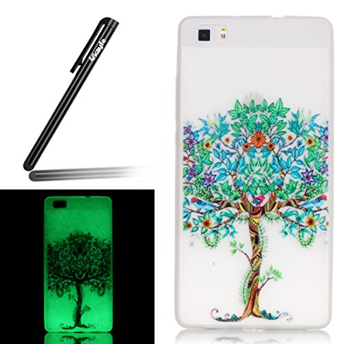 Coque pour iPhone 6 Plus, iPhone 6 Plus Silicone Coque Transparent Etui Housse, iPhone 6s Plus Coque en Silicone Souple Housse, iPhone 6 Plus Soft Case Clear Cover, Ukayfe Etui de Protection Cas en ca Noctilucent-Passez plus d'arbres