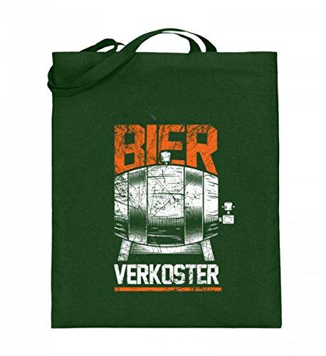 Hochwertiger Jutebeutel (mit langen Henkeln) - Bier Trinken Mann Männertag Lustig Bierbauch Sauftour Green