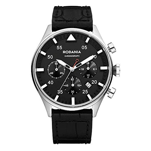 RODANIA Energy Mirage Herren-Armbanduhr Armband Leder Schwarz Gehäuse Edelstahl Batterie Analog 26168,26