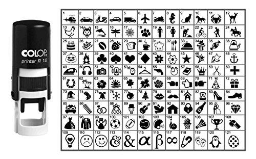 Wählen Sie Ihre Personalisierte Symbol Runde Stempel Selbst Inking COLOP Mini Stamper 12 mm-Black Ink