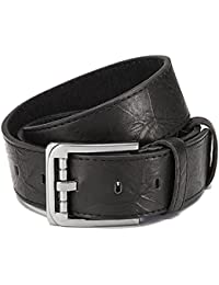 """Leather belt with PU coating, black with designer buckle, width: 1.5"""" unisex"""