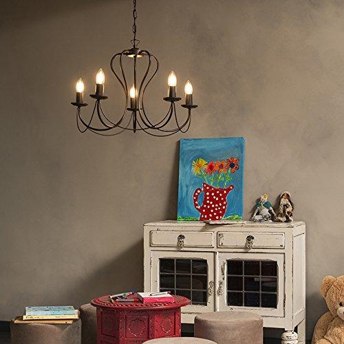 QAZQA Klassisch/Antik/Landhaus/Vintage/Rustikal Klassischer Kronleuchter/Chandelier 5-flammig rostbraun - Como/Innenbeleuchtung/Wohnzimmerlampe/Schlafzimmer/Küche Stahl Rund LED geeig