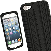 igadgitz Negro Neumático Tyre Silicona Funda Carcasa para Apple iPod Touch 6G 6th Generación (Julio 2015) & 5G 5th Generación (2012-2015) Case Cover + Protector de pantalla