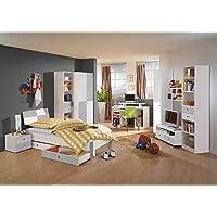 Jugendzimmer, komplett, Set, Jungen, Mädchen, Jugendzimmermöbel, Kinderzimmer, Kinderzimmermöbel, Jugendmöbel, Kleiderschrank, Bett, Alpinweiß, Beton preisvergleich bei kinderzimmerdekopreise.eu