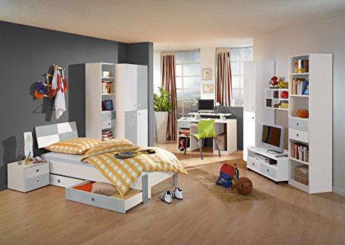 lifestyle4living Jugendzimmer, komplett, Set, Jungen, Mädchen, Jugendzimmermöbel, Kinderzimmer, Kinderzimmermöbel, Jugendmöbel, Kleiderschrank, Bett, Alpinweiß, Beton - Bett, Jugend-schlafzimmer-set