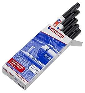 Edding Marqueur peinture encre permanente pour toutes surfaces Pointe fine Noir Lot de 10