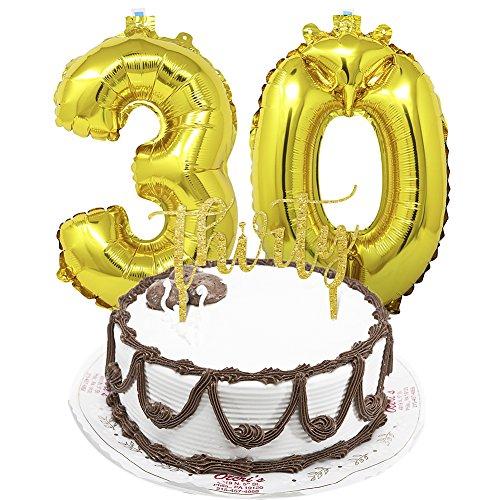 en Deckel Alles Gute zum Geburtstag Party Kuchen Dekoration mit 30 Foil Anzahl Ballons für Partei Dekor (Geburtstag-kuchen-deckel)