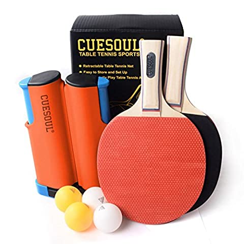 CUESOUL Retractable Anywhere Table Tennis Set with 2 Bats and