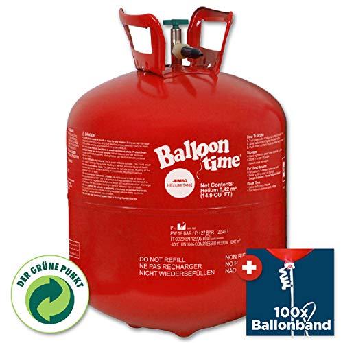 PartyMarty Helium-Ballon-Set: Ballongas Helium Flasche inkl. 50x Ballonband mit Schnell-Verschluss (XX-Large)