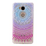 Huawei Honor 5X Case,Huawei Honor 5X Transparent Case,Huawei Honor 5X TPU Case, Cozy Hut [Ultral Thin] [Scratch Resistant] Transparent Clear Soft TPU Bumper Case Cover for Huawei Honor 5X, Beautiful Flower Series Print Clear TPU Gel Rubber Skin Cover for Huawei Honor 5X (5,5 inch) - Round totem