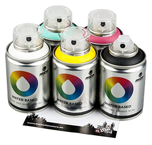 Sprühdosen Set MTN water based Pocket Cans CMYK Farben 5x100ml