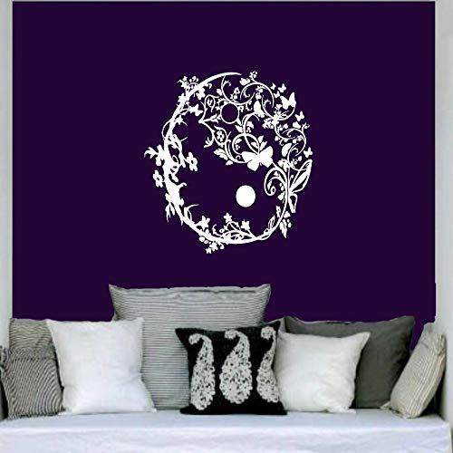 Geiqianjiumai Kreatives Design Blumenmuster Yoga Wandaufkleber Kreis Stammes Wandkunst Blumenwand Wohnzimmer weiß 42X42cm