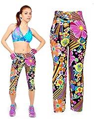 Pantalones mujer deporte Sannysis YOGA Pantalones Mallas para mujer (Naranja, L)