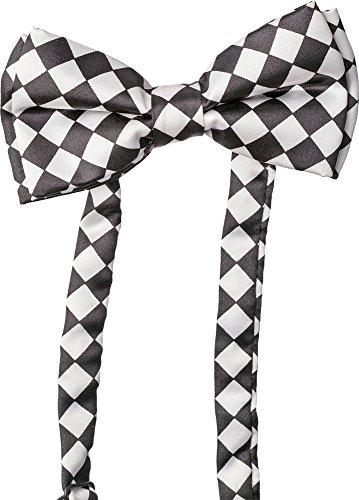 Fliege Schachbrettmuster – Schwarz Weiß – längenverstellbares Accessoire zu Clown oder Pierrot Kostüm an Karneval, Halloween oder Fasching