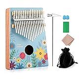 Kalimba 17 Key Thumb Piano Finger Piano with Cloth Tuning Kit Hammer, Study