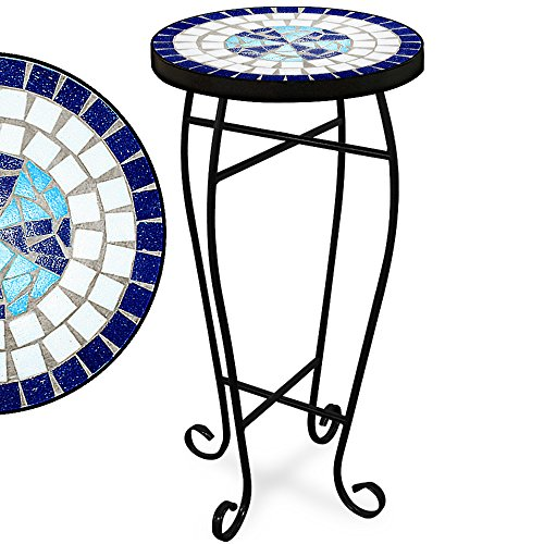 Garden Mosaic Side Coffee Table 34cm Flower Plant Stand Outdoor Indoor Round Bistro Patio Balcony Terrace Living Room Display Christmas Birthday Gift Powder Coated Structure