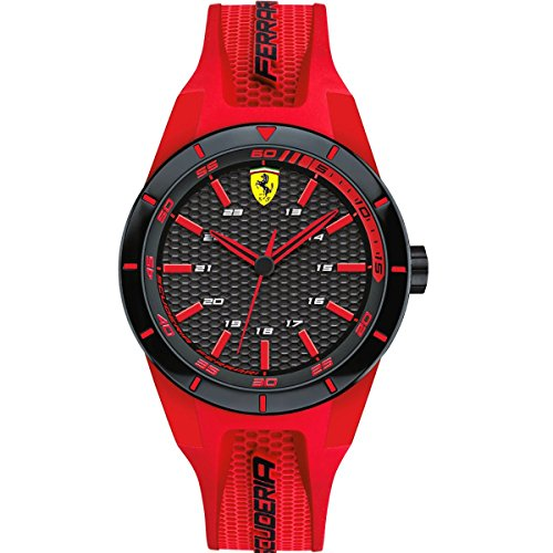 Scuderia Ferrari Orologi 0840005, Orologio da polso da uomo, al quarzo, analogico, rosso, in silicone