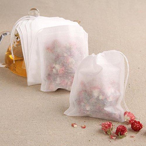 Dealglad® 100pezzi 5,5x 7cm tessuto non tessuto sacchetti con chiusura cordoncino tè vuoto Herb Filtro