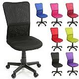 TRESKO Silla de Oficina Escritorio giratoria, Disponible en 7 Variantes de Colores, con Ruedas para Suelos Duros, Regulable en Altura de Forma Continua, Asiento Acolchado, Respaldo ergonómico (Negro)