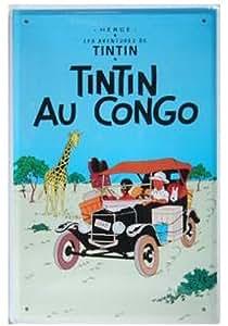 Tintin au Congo, plaque en métal style vintage, étain, Poster, Art mur Décoration Café Decor, 20x 20x 30cm.