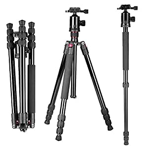 """Neewer Portable 64""""/163cm Alluminum Alloy Camera Tripod Monopod with 360 Degree Ball Head, 1/4"""" Quick Release Plate and Bubble Level, Load capacity 22lbs/10kg"""
