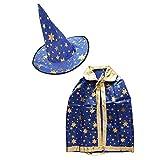 Baoblaze Kinderkostüm Hexenkostüm Set inkl. Hexenhut + Hexen Umhang für Junge und Mädchen - Blau