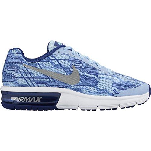 Nike Air Max Sequent Print (Gs), Chaussures de Course Fille Azul (Bluecap / Metallic Silver-Deep Royal Blue)