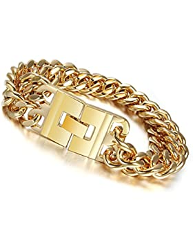 AMDXD Herren-Armband Edelstahl 18K Vergoldet Gold Chunky Grob Armschmuck Länge 23.5CM