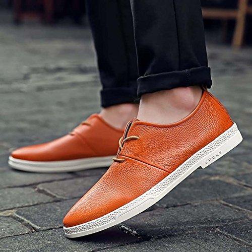 ZXCV Scarpe all'aperto Scarpe casual da lavoro Inghilterra Scarpe da uomo per il tempo libero Scarpe basse in pelle con lacci Arancia