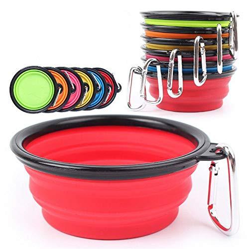 Z&J 6Pcs-Collapsible Dog Water Bowl, Pet Food Grade Silikon Hundenapf, kostenloser Karabiner, Hund Katze Wandern Zubehör, hält 12 Unzen -
