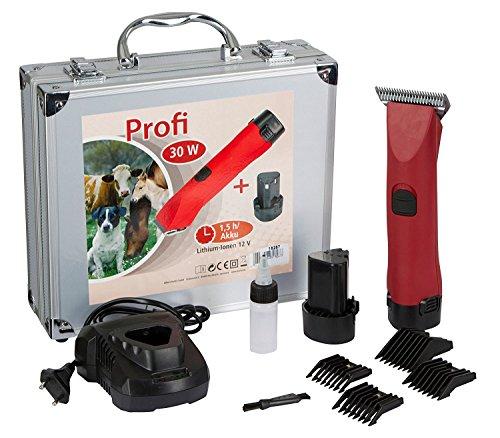 Eider Akku Schermaschine für Hunde und Pferde Profi inkl. Messer - mit Vier Aufsteckkämmen für 3mm, 6mm, 9mm, und 12 mm inkl. 2 Akkus