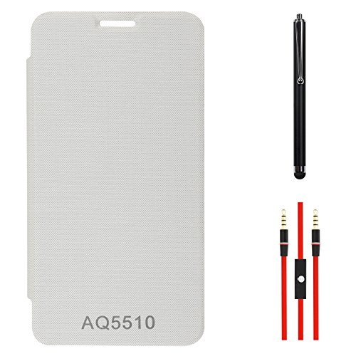 DMG Premium Hot Pressed PU Leather Flip Cover Case for Micromax Yureka Yu AQ5510 (White) + AUX Cable + Stylus