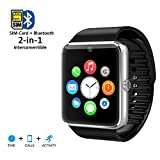 inDigi Black Bluetooth Smart Watch Phone Leather Strap Caller Id Phonebook Messaging Time