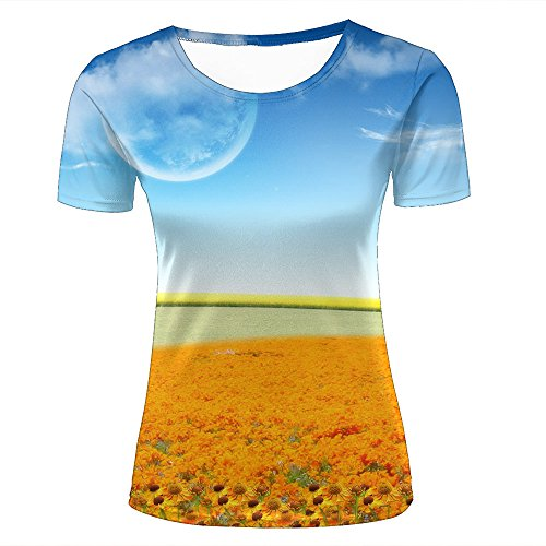 86b5d2f5 SHENMAHU para Mujer Casual Design 3D Printed Blue Sky and Beautiful Flowers  Field Short Sleeve Summer T Shirts Tees L
