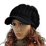 Womens Frauen Woolen Knitted Peak Beanie Duckbill cap Größe 48