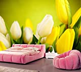 Yosot Benutzerdefinierte Tulpen Gelb Blumen Tapeten Livng Zimmer Fernseher Sofa Wand Schlafzimmer Wandbild Tapete 3D-Große Wandmalereien-140Cmx100Cm