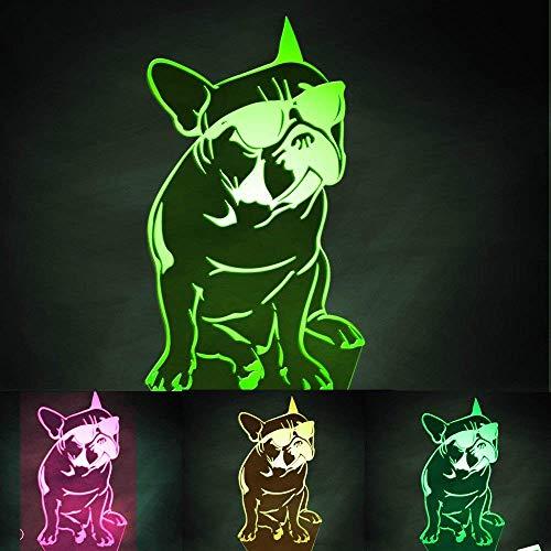 Jinson well 3D französische bulldogge Nachtlicht Lampe optische Nacht licht Illusion 7 Farbwechsel Schreibtisch Dekoration Lampen Weihnachtsgeschenk mit Acryl USB Spielzeug - Französisch Ein Licht