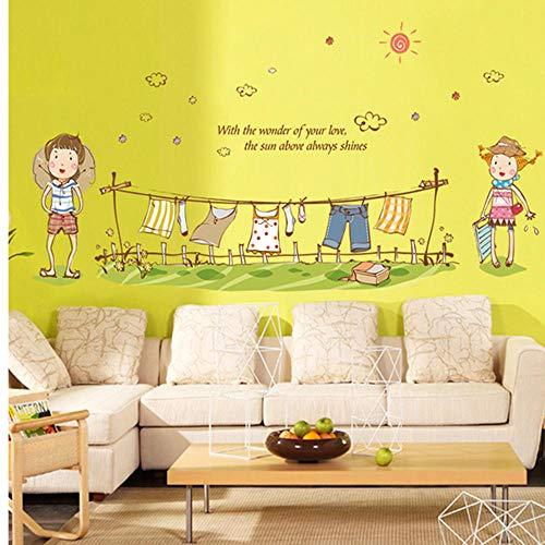 Idolxu New Cartoon kleiner Junge und kleines Mädchen Kleidung Kinderzimmer Haushalt anpassbare Wandaufkleber