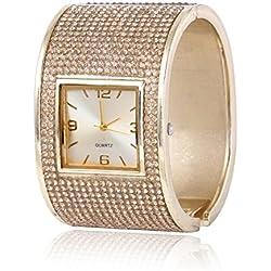 Skylofts Analogue Diamond Studded Bracelet Multicolor Dial Women'S Girls Watch Jewellery (Gold)