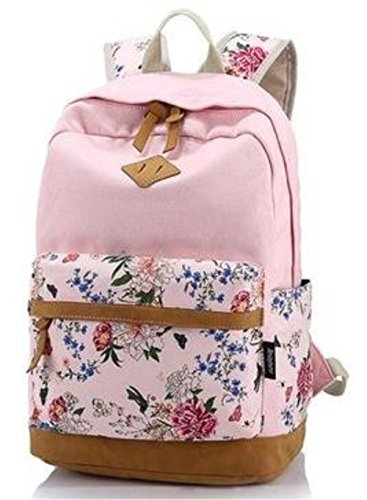Imagen de icase4u® multi función moda  bolsa escolar tipo casual bonita de lona de viaje  de marcha para picnic para mujer o chica buena calidad flores rosa1