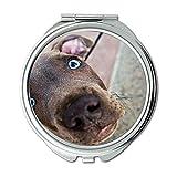 Yanteng Spiegel, Runder Spiegel, Jagdhund Tier, Taschenspiegel, 1 X 2X Vergrößerung