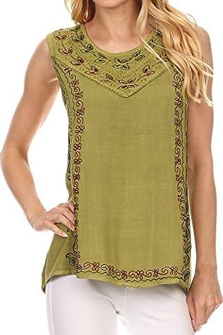 Sakkas 121203 - Koonya Long Light Scoop Neck Nature Embroidered Sleeveless Tank Top Blouse - Green - OS