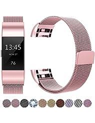 Fitbit Charge 2 Correa, HUMENN Milanés Loop Ajustable Pulsera de Acero Inoxidable Repuesto con Cierre Magnético para Fitbit Charge 2 (5.5--8.5 Pulgada) Rosa